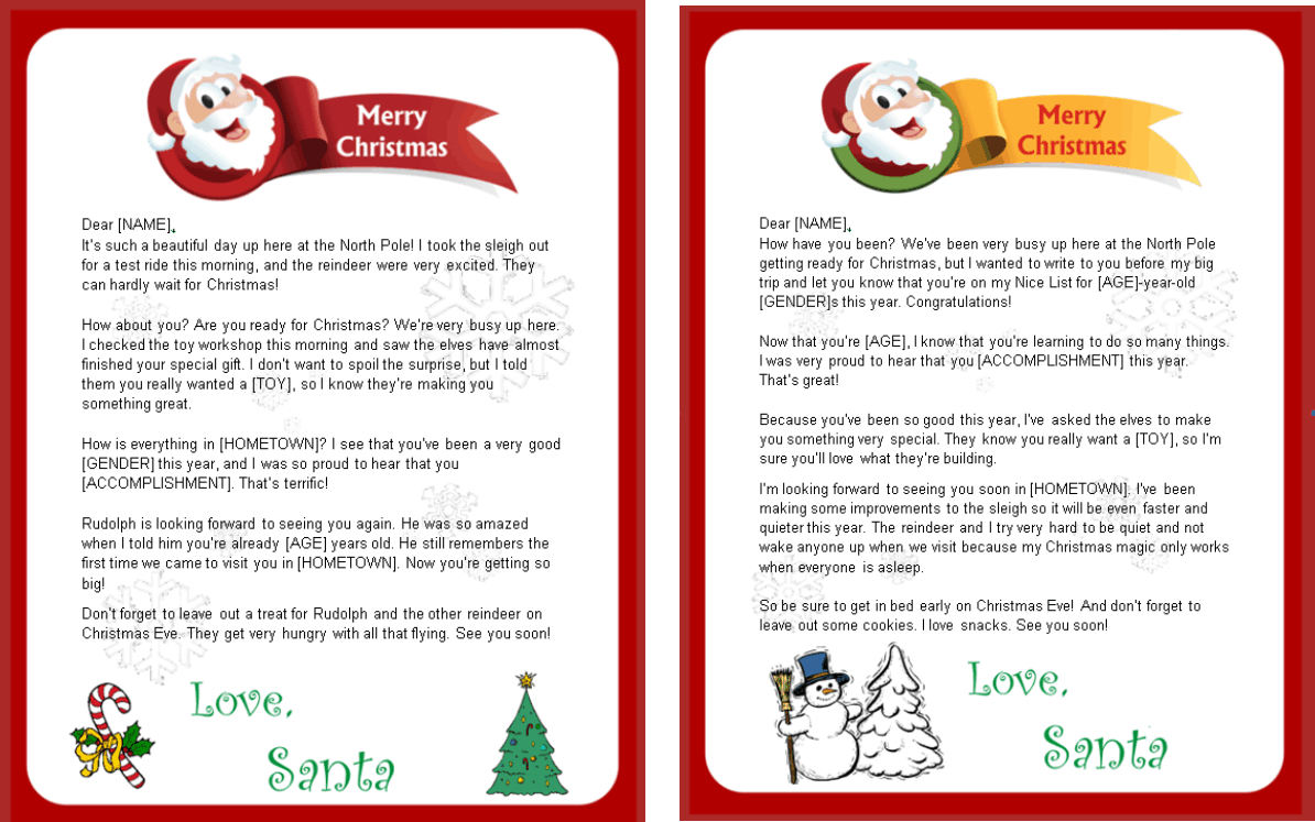 free letter from santa claus printable