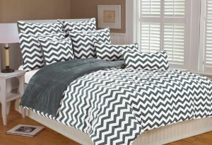 Gray and White Chevron Bedding